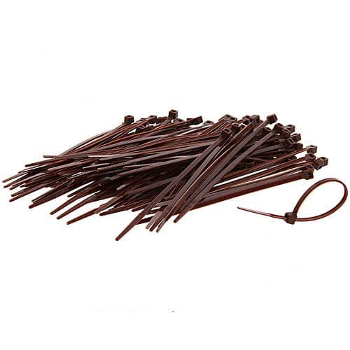 "8"" Brown Nylon Cable Ties (40lbs) - 100pcs"