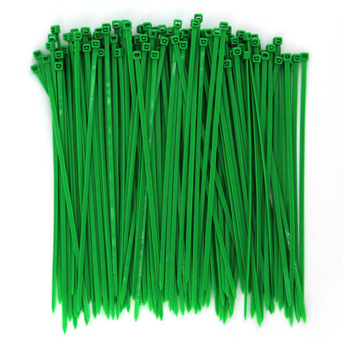 "8"" Green Nylon Cable Ties (40lbs) - 100pcs"