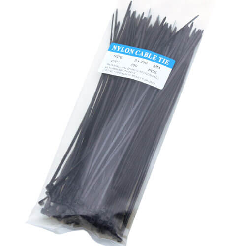 "12"" Black & White Nylon Cable Ties (50lbs) - 100pcs"