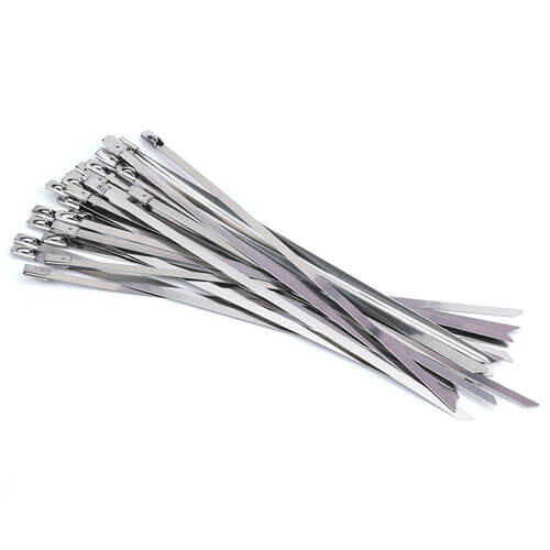 "7.8"" 304 Stainless Steel Self Locking Zip Ties - 100pcs"