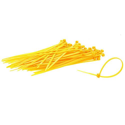 "8"" Yellow Nylon Cable Ties (40lbs) - 100pcs"